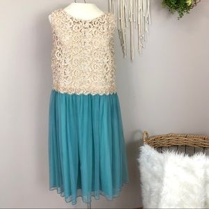 Deb cream Lace turquoise tulle dress size 14